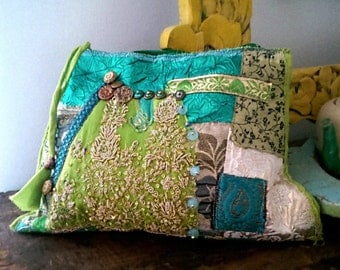 Exotic Purse, Vintage Embroidery, Green, Blue, Gold, Vintage Buttons, Clutch Bag, Boho Purse, Sparkly, Disco