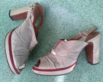 Vintage 1970s Shoes Cut Out Peep Toe Platform 1940s Style US6 20150807J118