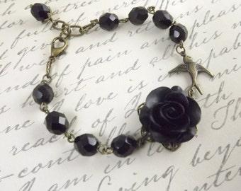 Black Flower and Brass Swallow Bracelet
