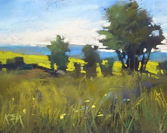 Summer in France Normandy Landscape  Original Pastel Painting