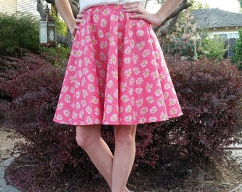 Pink Floral Circle Skirt Ready to Ship Womens skirt Cotton Elastic Medium Skirt
