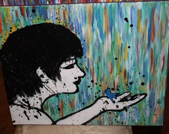 16 by 20 inch acrylic painting abstract woman black and white rainbow background