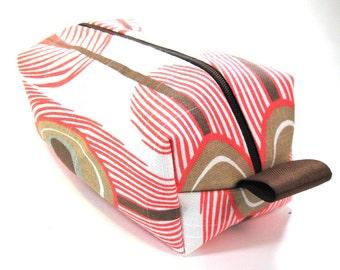 Makeup Bag / Cosmetic Bag/ Travel Bag / Toiletry Bag - Coral Peacock
