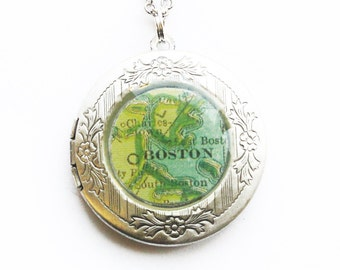 Custom Silver Map Locket / You pick the location, we make the necklace with vintage maps