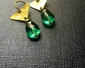 Sale - Faceted Green Teardrop and Brass Triangle Earrings