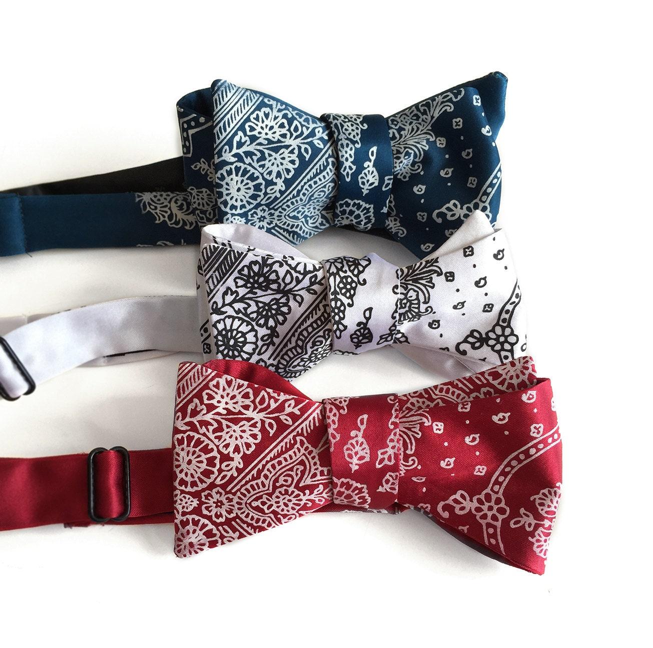 bandana print bow tie classic paisley bandanna print cowboy