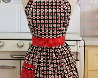 Retro Apron Red and Pink Daisies on Black CHLOE