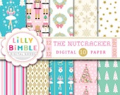 50% off The Nutcracker digital scrapbook papers Christmas paper ballet, sugar plum fairy, Instant Download