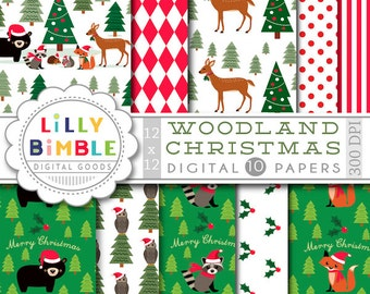 40% off Woodland Christmas digital papers animals bear, raccoon, squirrel, deer, owl, hedgehog, fox forest Scrapbooking Paper