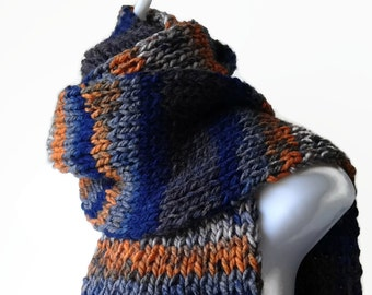 Knit Scarf Blue Grey Orange Stripe Ombre, Vegan Rib Knit Men Women Unisex FELIX Ready to Ship - Autumn, Winter Fashion