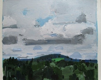 High July, Garden Hill, Original Landscape Painting on Paper, Stooshinoff