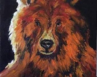 Sunlit Bear Original Oil Painting Wildlife Animal Portrait by California Artist debra alouise