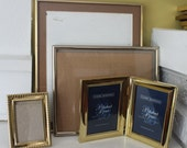 Gold Metal Brass Frame LOT / Large and Diptych / Lot of FOUR