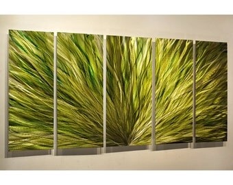 Green Abstract Art - Metal Wall Art - Modern Home Decor - Contemporary Art - Metal Painting - Accent - Emerald Green Plumage XL by Jon Allen