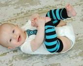 blue baby leg warmers, black newborn leggings, leg warmers boy, leg warmers girl, legwarmers newborn, toddler leggings, turquoise stripes