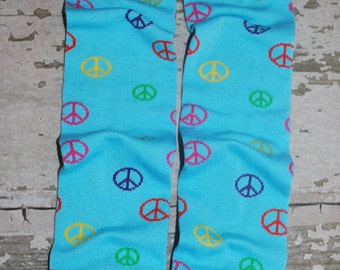 blue leg warmers, peace sign print, baby leg warmers, toddler legwarmers, infant leggings, wear with tutu, costume, dress, romper, onesie