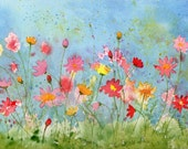 watercolor original painting COSMOS garden flowers SFA