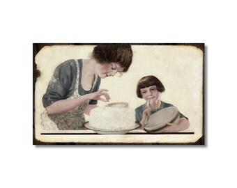 Fridge Magnet kitchen decor Mother and Daughter Cake Baking vintage art Cooks gift icing cake