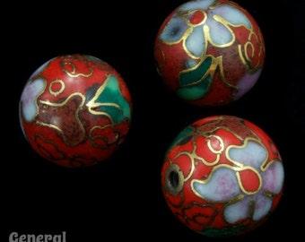 12mm Red Cloisonné Bead (2 Pcs)  #3733