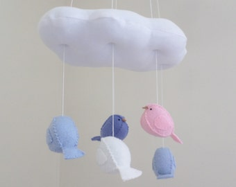 Baby mobile - nursery decoration in pink and blue - cloud and bird mobile