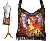 Hippie Bag Hobo Purse Crossbody Slouch Bag Gyspy Boho Fringe Bag, Alphonse Mucha Zodiac, Art Nouveau, Woman, blue orange MTO
