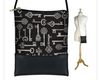 CLEARANCE Antique Keys small crossbody bag, mini shoulder bag, Cell Phone Purse fits iPhone 6 Plus, Vintage Skeleton Keys, steampunk RTS