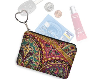 Boho Paisley Small Zippered Pouch Coin Purse Keychain Business Card Holder Key Fob  fabric pouch jewel colors purple red teal gold MTO