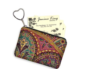 Boho Paisley Business Card Holder Fabric Pouch Key Fob Small Zipper Bag Coin Purse Key Chain jewel colors purple red teal gold RTS