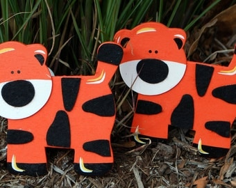 Felted Tiger Quilt Clips Set/2