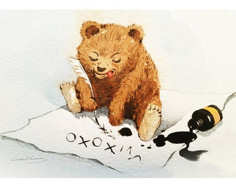 "Baby Bear Print - Watercolor ""XOXO"" - 5 by 7 print - Archival Print - Home Decor - Animal Art"