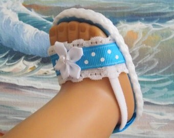 "Doll Sandals for 18"" dolls and 13-14"" dolls and 14.5"" dolls (You Select Size) Bright Turquoise Shoes With White Lace Accents"