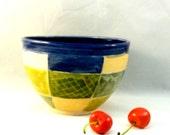 Ceramic Handmade Salad Bowl in cobalt and yellow patchwork design - decorative kitchen bowl - soup bowl - cereal bowl - key bowl