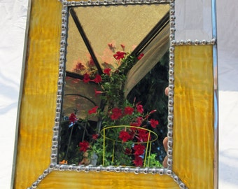 Mirror, 4 x 6 inch, Standing, of Textured Amber Stained Glass, with Rectangular Clear Beveled Glass in Corner