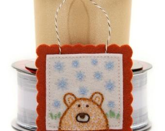 Felt Christmas Ornament, Little Brown Bear, Handmade Bear Decoration, Christmas Home Decor, Bear Spirit Animal, Unique Gift Decoration