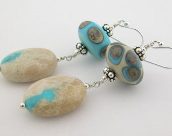 Ribbon turquoise white quartz sterling earrings cserpentDesigns dots lampwork etched