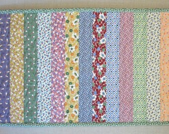 Quilted Table Runner - Strip Quilt - Reproduction 1930s Feedsack Prints