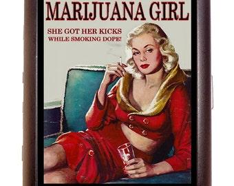 Marijuana Girl Cigarette Case Business Card Case Wallet Dope Reefer Weed Pot Exclusive Design Red Dress