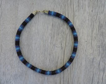 Peyote Stitched Choker Necklace in Blues