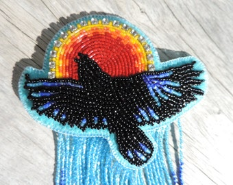 Raven and the Sun beaded hair barrette