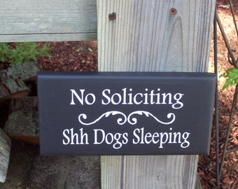No Soliciting Shh Dogs Sleeping Wood Vinyl Sign Pet Lover Home Decor Rod Stake Porch Sign Lawn Ornament Yard Sign Art Outdoor Garden Plaque