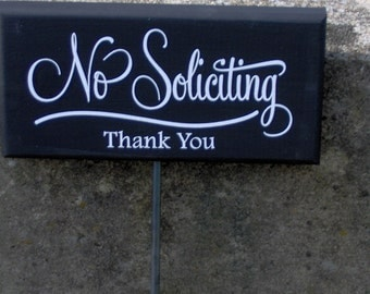 No Soliciting Thank You Wood Vinyl Stake Sign Retro Everyday Porch Home Decor Sign Garden Yard Sign Do Not Disturb Private Property Gift