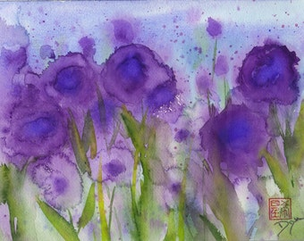 Purple Wildflower Watercolor Note Cards Box of 10