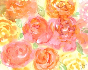 Roses Watercolor Note Cards Box of 10