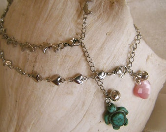 Stainless Steel Dolphin or Heart Anklets
