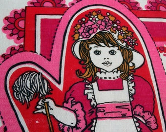 Vintage Kitsch Tea Towel - Pink - Make your Own Oven Gloves - Butler and Tweeny Charity Tea Towel