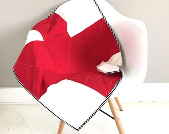 SALE Red and white mini minky plus quilt and play mat