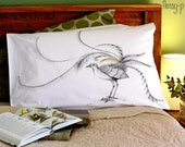 SECOND: Lyre Bird pillow case, facing left. Native bird cotton sham, white printed pillowslip. Australian gift with original art by flossy-p