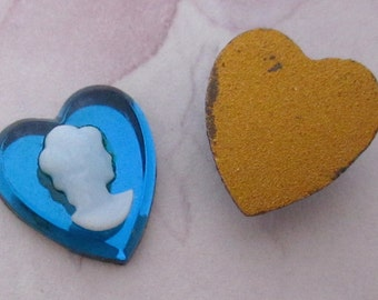6 pcs. vintage glass foiled heart turquoise blue cameo flat back cabochons 12x11mm - f4832