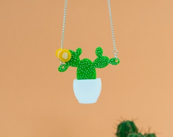 Prickly Pear Cactus statement Necklace succulent plants laser cut perspex cacti pendant handmade in the UK