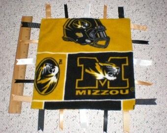 University of Missouri Tigers Fleece Baby Sensory Ribbon Tag Blanket